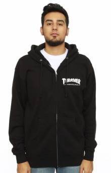 Magazine Logo Zip-Up Hoodie - Black