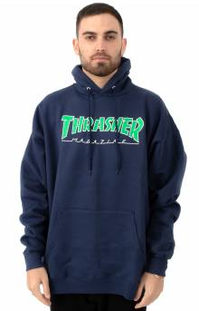 Outlined Pullover Hoodie - Navy