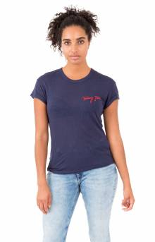(DW04676) Tommy Embroidery T-Shirt - Black Iris