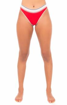 (R11T038) Strappy Mesh Thong - Red