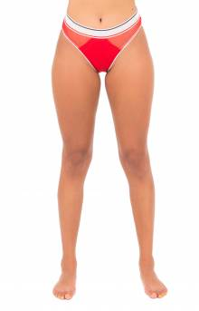 (R14T055) Strappy Mesh Highwaist Cheeky Bikini Bottom - Apple Red