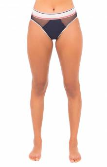 (R14T055) Strappy Mesh Highwaist Cheeky Bikini Bottom - Navy Blazer