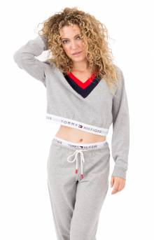 (R27S022) Retro Cropped Pullover - Heather Grey