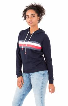 (R27S034) Global Stripe Pullover Hoodie - Navy Blazer