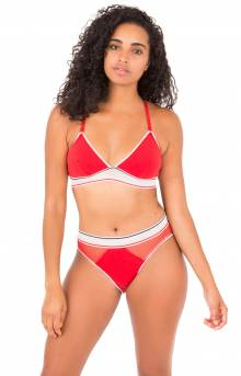 (R70T067) Cotton Mesh Bralette - Apple Red