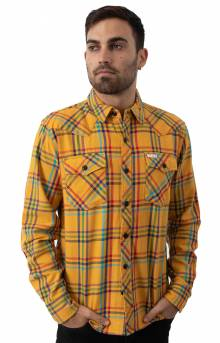 Plaid Mountain Button-Up Shirt - Mustard