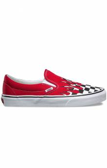 (8F7RX5) Checker Flame Classic Slip-On Shoe - Racing Red