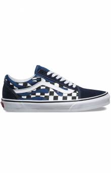 (8G1RX6) Checker Flame Old Skool Shoe - Navy