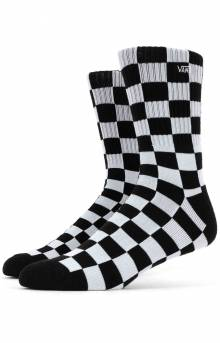 Checkerboard Crew Socks - Black/White