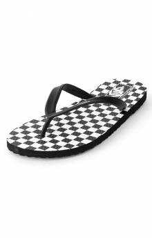 Checkerboard Makena Slides - Black/White