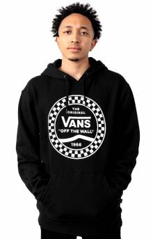 Checkered Side Stripe Pullover Hoodie - Black