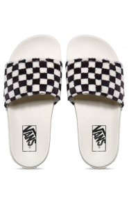 Slide-On Sherpa Sandals - Black/White
