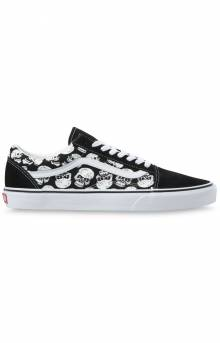 (AO95C2) TM Glow Skulls Old Skool Shoes - Black/White