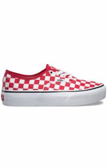 (AV8S4E) Checkerboard Authentic Platform Shoe - Racing Red