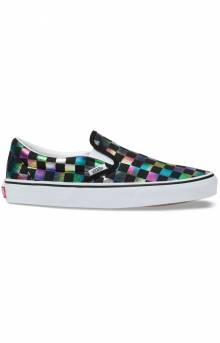 (BV3SRY) Iridescent Check Slip-On Shoe - Black/True White