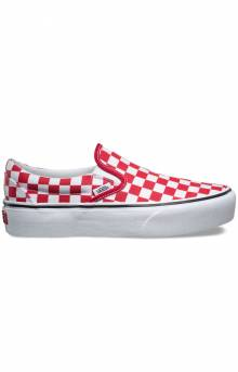 (JEZS4E) Checkerboard Slip-On Platform Shoe - Racing Red