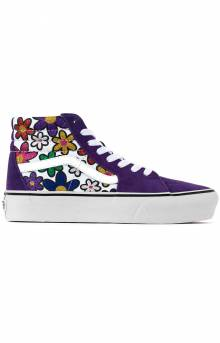 (TKNX96) Glitter Daises SK8-Hi Platform 2 Shoes - Rainbow/True White