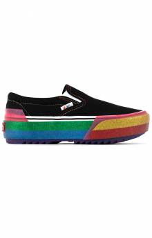 (TZVWW1) Glitter Classic Slip-On Stacked Shoes - Black/Rainbow