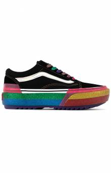 (U15WW1) Glitter Old Skool Stacked Shoes - Black/Rainbow