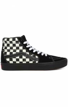 (WMB17Q) Mixed Media ComfyCush SK8-Hi Shoes - Antique White/Black