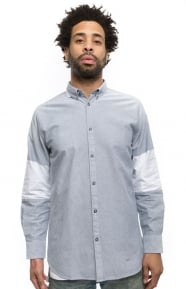 Cutout 7ft Button-Up Shirt - Grey/White